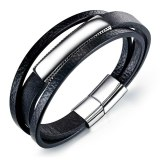 Factory Wholesale Stainless Steel Hand Jewelry Multi-Layer Fashion Leather Bracelet Black Simple Men's Leather Bracelet Gb1369