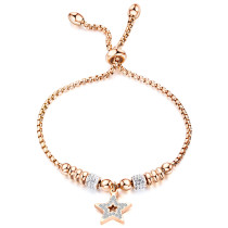 Fashion Hollow Beads Star Bracelet Adjustable Bracelet Women Gifts Rose Gold Plated Titanium Bracelet Gb1052