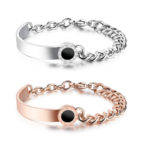 European and American Titanium Steel Roman Numeral Asymmetric Bracelet Rose Gold Plated Women's Girls  Bracelet Gifts Gb869