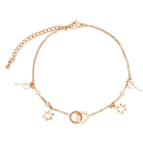 New Summer KoreanFashion Simple Women Rose Gold Plated Jewelry Double Ring Six-Pointed Star Titanium Steel Anklet Gb091