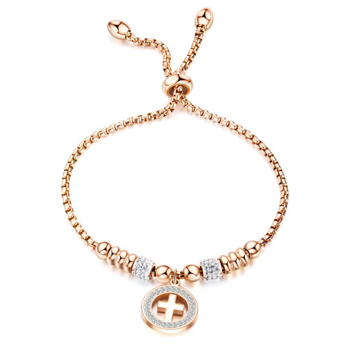 European and American Titanium Ornament Rose Gold Cross Bracelet Adjustable Fashion Women Girls Bracelet Gifts Gb1053