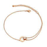 Hot Selling Titanium Ornament Women's Rose Gold Double Ring Zircon Stainless Steel Anklets Gifts for Women Gb081