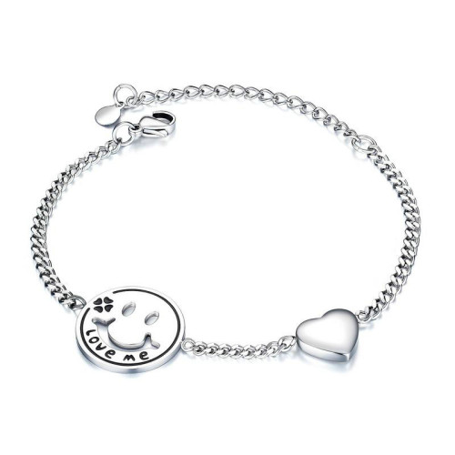 Simple Creative Smiley Face Bracelet Personalized Chain Girlfriends Jewelry Titanium Steel Women's Love Bracelet Gift Gb1055