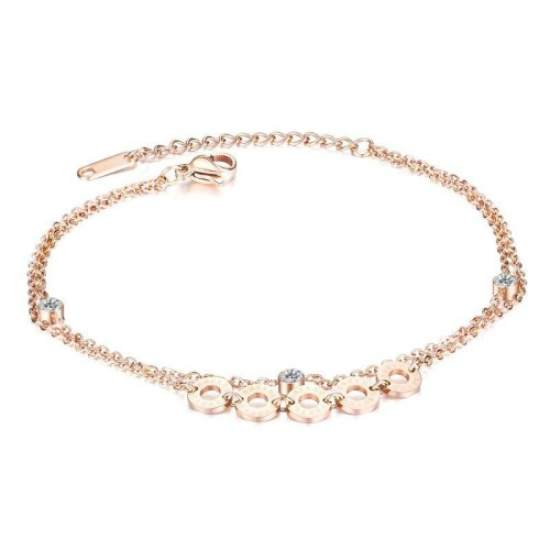 Hot Jewelry Korean-Style Simple Roman Numeral Circle Foot Chain Titanium Steel Rose Gold-Plated Women's Anklet Gb097