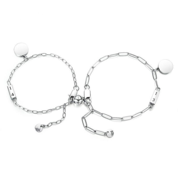 Korea Cross-Border Jewelry Simple Stainless Steel round Beads Fashion Lovers Bracelet Gifts Wholesale Gb1062