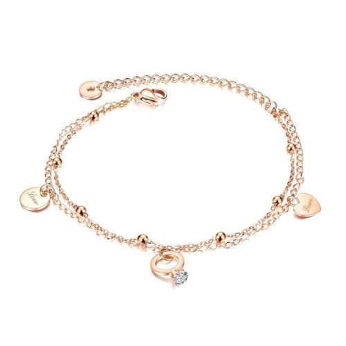 Summer New Style Foot Jewelry Simple Fashion  Rose Gold Plated Foot Chain Titanium Steel Women's Anklet Gifts Gb098