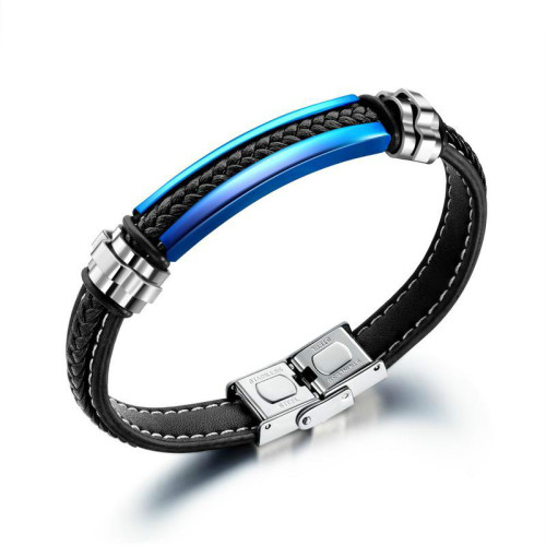 European  Fashion Simple Leather Titanium Steel Bracelet Men's Retro Stainless Steel Bracelet Bangles Gb1359