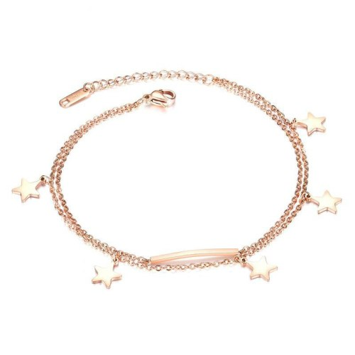 Fashion Five-Pointed Star Anklets Rose Gold-Plated Girlfriends Double-Layer Foot Chain Titanium Steel Women's Anklet Gb096