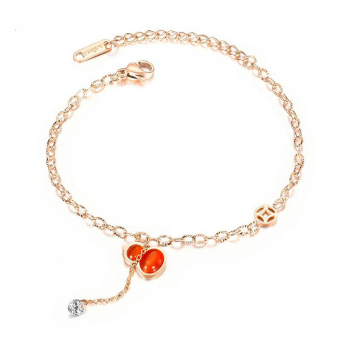 Wholesale Korean-Style Fashion Design Stainless Steel Anklet Fashion Gourd Artificial Stone Accessories Women Anklet Gb100