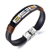 European  Vintage Hand-Woven Cross Men's Leather Bracelet Titanium Steel Flag Leather Bracelet Bangle Gb1376