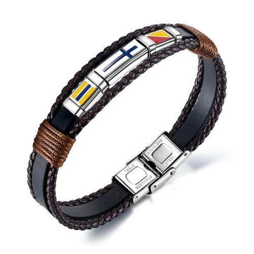 European  Vintage Hand-Woven Cross Men's Leather Bracelet Titanium Steel Flag Leather Bracelet Bangle Gb1376