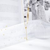 Phoenix Tail Pearl Clavicle Chain Japanese and Korean Titanium Steel Tassel Willow Leaves Women Necklace Gift Gb1649