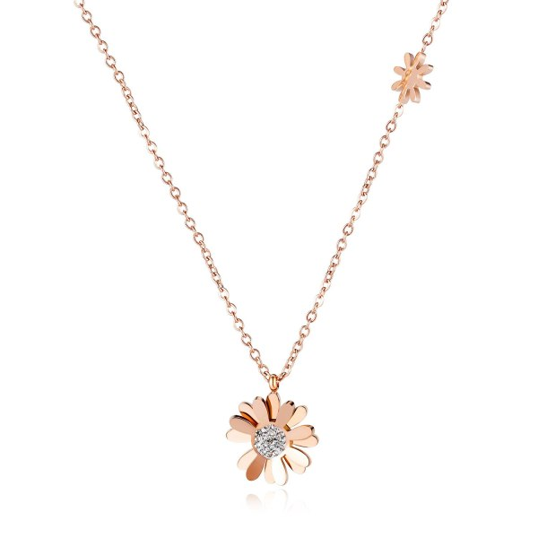 2020 New Style Simple Elegant Light Luxury Clavicle Chain Daisy Titanium Steel Necklace Women Girl Gift Gb1653