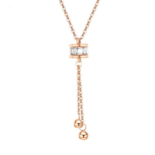 Titanium Ornament Japanese and Korean Necklace Cylindrical Lucky Beads Tassel Women Necklace Stainless Steel Pendant Gb1618