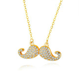 New Micro-Inlaid Zircon Beard Necklace Women's European and American Fashion Copper Gold-Plated Women Necklace Gb714