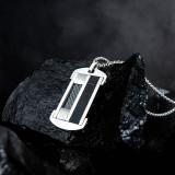 Fashion European and American New Tag Cool Black Carbon Fiber Stylish Guy's Pendant Men's Titanium Steel Necklace Gb1614