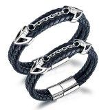 Ornament Wholesale Stainless Steel Magnetic Buckle Multi-Layer Leather Bracelet Titanium Steel Men's Leather Bracelet Gb1393