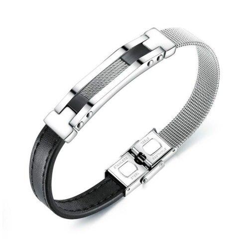 Wholesale Fashion Stainless Steel Mesh Belt Leather Belt Bracelet Bangle Trend Titanium Steel Men's Leather Bracelet Gb1382