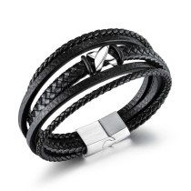 European and American Men's Multi-Layer Woven Leather Bracelet Stainless Steel X-Type Leather Bracelet Bangle Wholesale Gb1391
