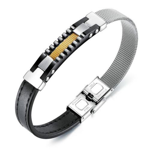 Hot Fashion Asymmetric Mesh Belt Leather Belt Steel Leather Bracelet Titanium Steel Men's Leather Bracelet Bangle Gb1381