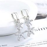 Earrings Women's Korean-Style Sweet Diamond Set Flower Ear Clip Short Ear Pendant zx556