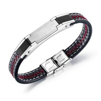 Hot Selling Bracelet European and American Cool Men's Leather Bracelet Stainless Steel Jewelry Bracelet Bangle Gift Gb1377