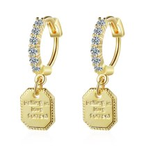 Women's Korean-Style Simple Fashion Ear Clip Elegant Square Diamond Set Earrings Xz553