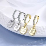 Women's Korean-Style Simple Fashion Ear Clip Elegant Square Diamond Set Earrings Xz553