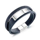 European and American Men Ornament Jewelry Titanium Steel Men's Cool Multi-Layer Leather Bracelet Bangle Gb1392