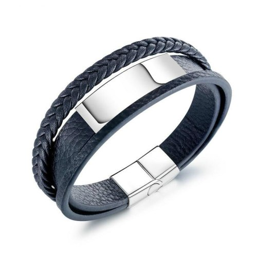 European and American Men Ornament Jewelry Titanium Steel Men's Cool Multi-Layer Leather Bracelet Bangle Gb1392