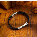 Hot Men's Classic Motorcycle Stainless Steel Leather Bracelet European and American Men Bracelet Bangle Ornament Gb1378