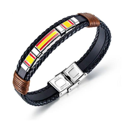 European and American Vintage Men's Multi-Layer Woven Leather Bracelet Titanium Steel Flag of Spain Bracelet Bangle Gb1375