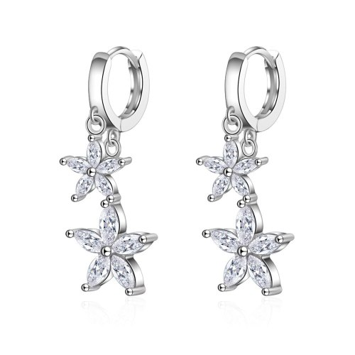 Earrings Women's Korean-Style Sweet Diamond Set Flower Ear Clip Short Ear Pendant zx556