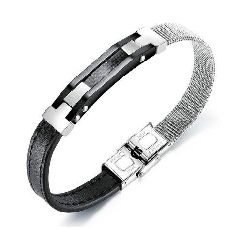 Wholesale Irregular Stainless Steel Mesh Belt Leather Bracelet Bangle Men's Titanium Steel Carbon Fiber Leather Bracelet Gb1380