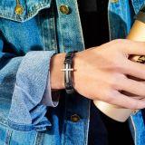 Ornament Wholesale New Fashion Creative Cross Leather Rope Bracelet Bangle Men's Alloy Leather Bracelet Gift Gb1394