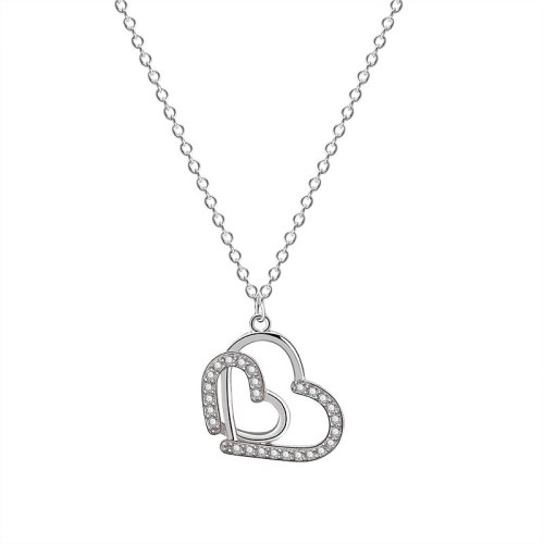 925 Sterling Silver Lovely Necklace Female  Ins Korean-Style Heart-to-Heart Zircon Diamond Necklace Mla1871