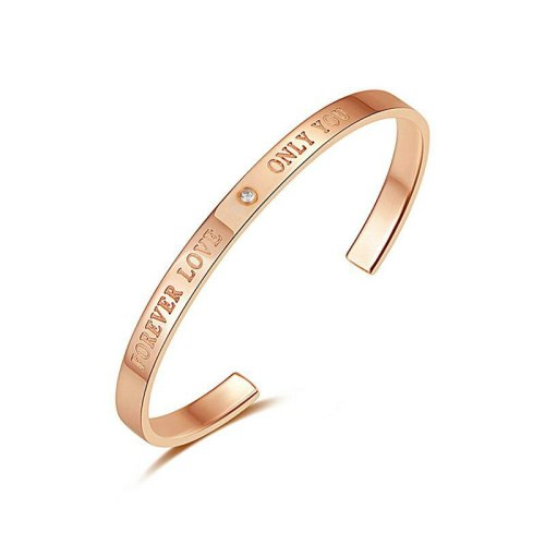 Fashion All-match C- Shaped Stainless Steel Rose Gold Bracelet Women's Bracelet Bangles Lover Gift Ornament Gb968