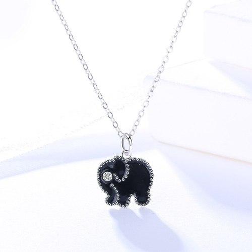 925 Sterling Silver Women's Korean-Style Cartoon Elephant Necklace Multi-Color Epoxy Custom Mla1593
