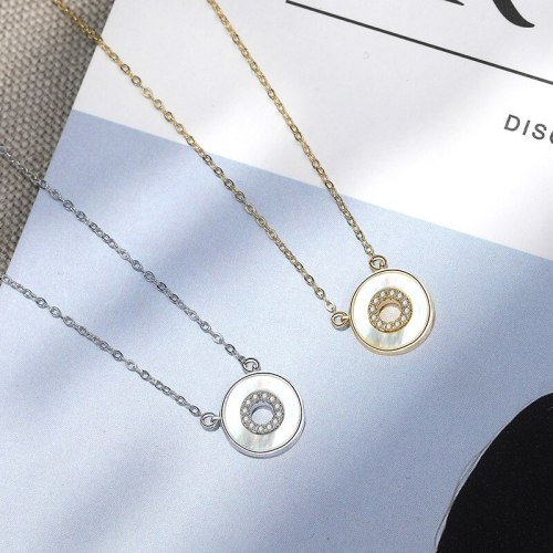 925 Sterling Silver New Zircon Circle Necklace Female Korean Simple Popular Amazon Ornament Mla1987