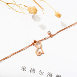 Korean-Style Cute Cat Anklet Fresh Hollow Titanium Steel Plated Rose Gold Foot Chain Girlfriends Foot Jewelry Anklets Gb076