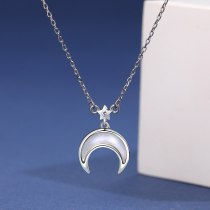 925 Sterling Silver 2020 New Korean Fashion Star Moon Necklace Silver Mla1926