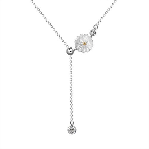 925 Sterling Silver 2020 New Zircon Flower Necklace Female Japanese and Korean Popular Necklace Mla1904
