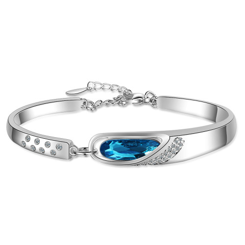 Bracelet Women Ins Non-Mainstream Design Angel Tears Blue Artificial Crystal Bracelet Superior Bracelet Zxb181