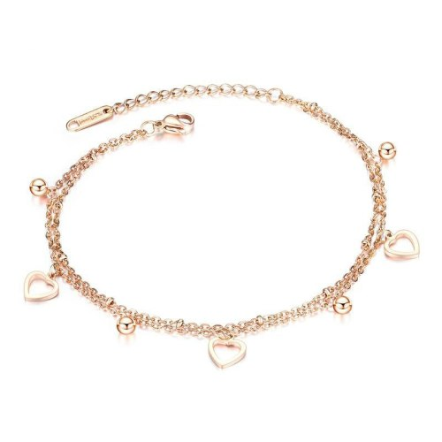 Korean-Style Fashion Lady's Double-Layer Hollow-out Lovely Anklet Rose Gold-Plated Titanium Steel Women's Anklet Gift Gb095