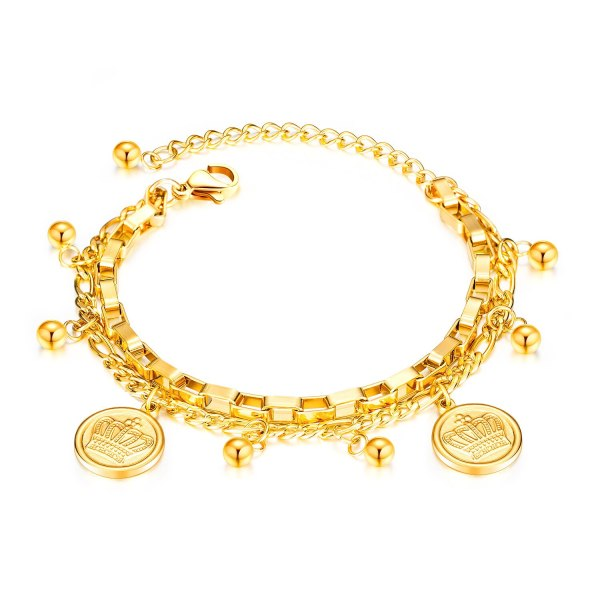 Japan and South Korea Trend Ornament Wholesale Crown Round Beads Wild Multilayer Stainless Steel Women Bracelet Gb1058