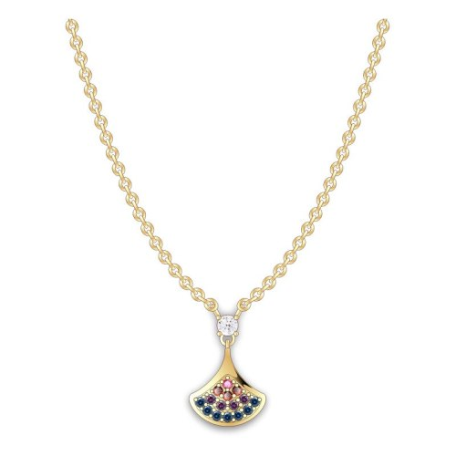 S925 Sterling Silver 2020 New Zircon Rainbow Princess Dress Necklace Japanese and Korean Popular Necklace Ml20200702