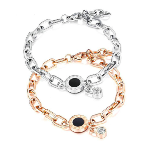Fashioin Roman Numerals Stainless Steel Hand Accessories Plated Rose Gold Titanium Steel Women Bracelet Gift Gb1051