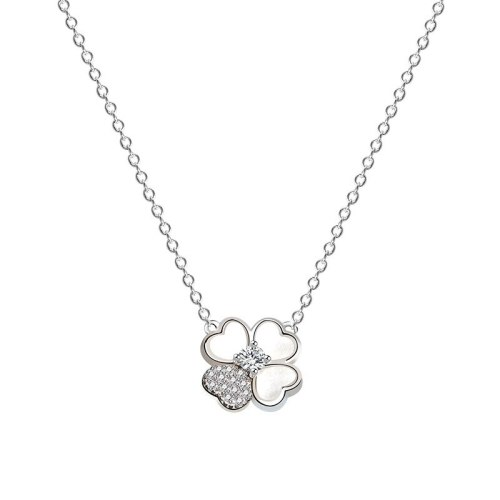 925 Sterling Silver 2020 New Clover of Four Leaves Glossy Zircon Necklace Japanese and Korean Popular Necklace Mla1980