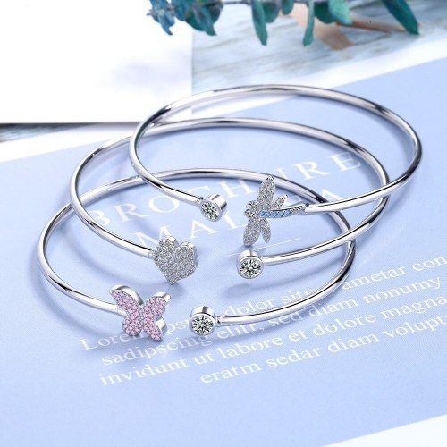 Zirconium Diamond Open Butterfly Bracelet Female Creative Sweet Cute Simple Fashion Bracelet Bangle Bracelet Zxb178