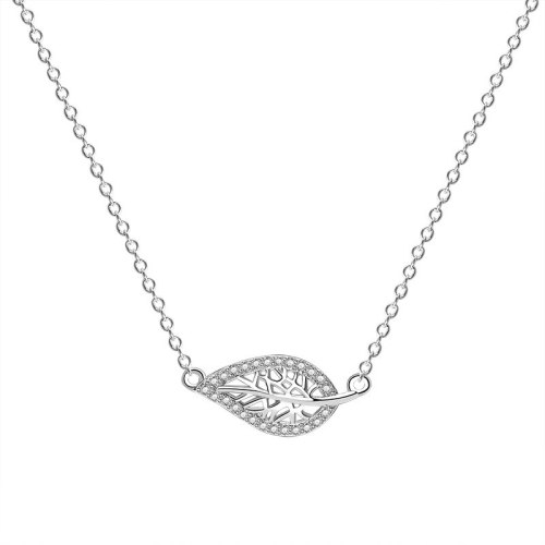 925 Sterling Silver 2020 New Style Zircon Leaf Necklace Women's Japanese and Korean Fashion Jewelry Silver Mla1931